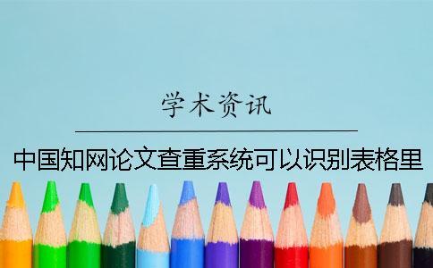 中国知网论文查重系统可以识别表格里的内容么?